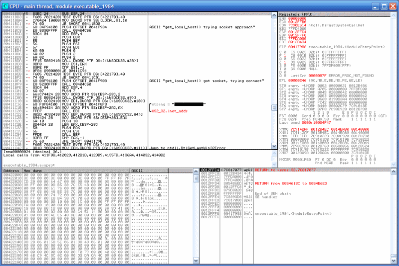 OllyDbg disassembly of a target executable